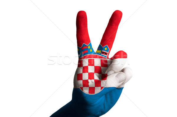 croatia national flag two finger up gesture for victory and winn Stock photo © vepar5