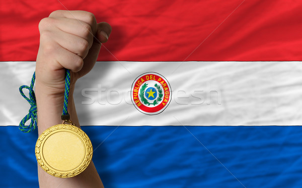 Złoty medal sportu banderą Paragwaj zwycięzca Zdjęcia stock © vepar5