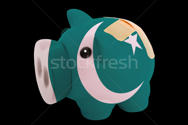 bankrupt piggy rich bank in colors of national flag of pakistan  Stock photo © vepar5