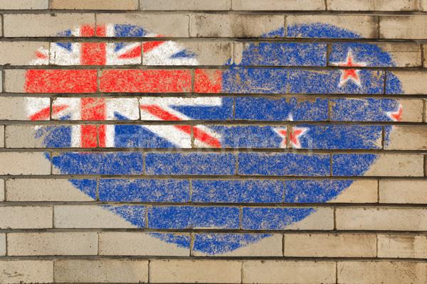 Forma de corazón bandera Nueva Zelandia pared de ladrillo corazón Foto stock © vepar5