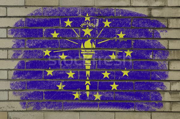 Grunge bandeira Indiana parede de tijolos pintado americano Foto stock © vepar5