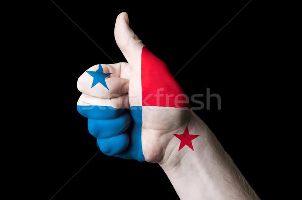 Panama zászló hüvelykujj felfelé kézmozdulat kiválóság Stock fotó © vepar5