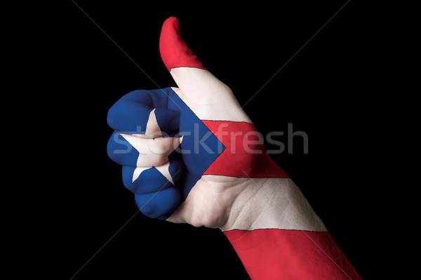 Porto Rico bandeira polegar para cima gesto excelência Foto stock © vepar5