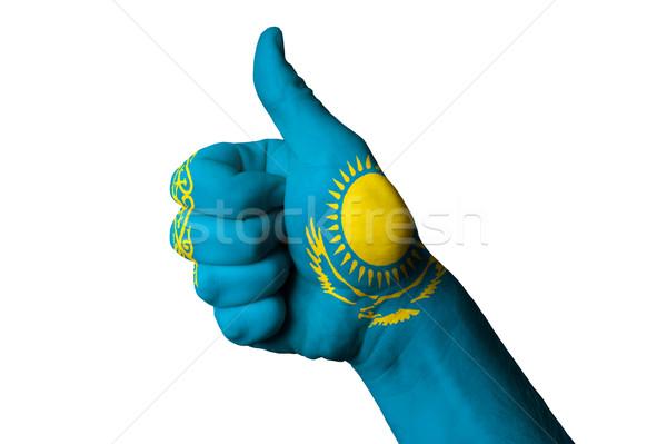 Kazakistan bayrak başparmak yukarı jest mükemmellik Stok fotoğraf © vepar5