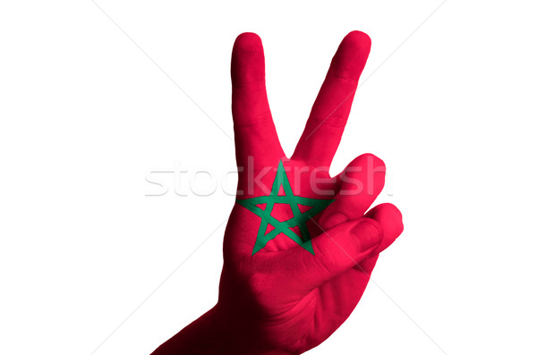 morocco national flag two finger up gesture for victory and winn Stock photo © vepar5