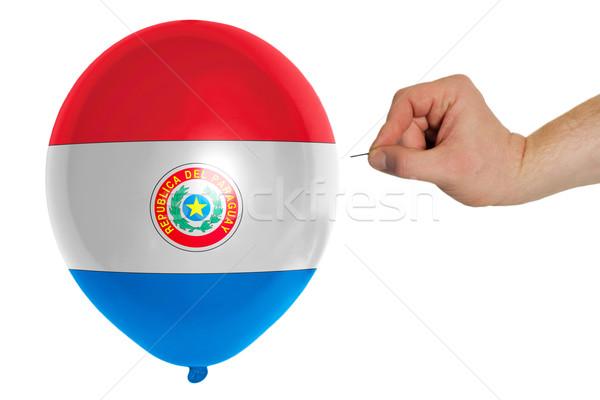Léggömb színes zászló Paraguay politika rombolás Stock fotó © vepar5