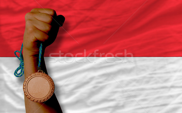 Bronz érem sport zászló Indonézia tart Stock fotó © vepar5