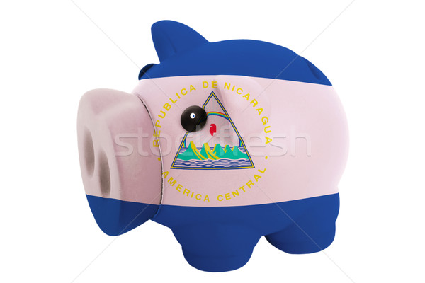 piggy rich bank in colors  national flag of nicaragua    for sav Stock photo © vepar5