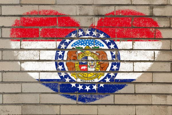 heart shape flag of missouri on brick wall Stock photo © vepar5