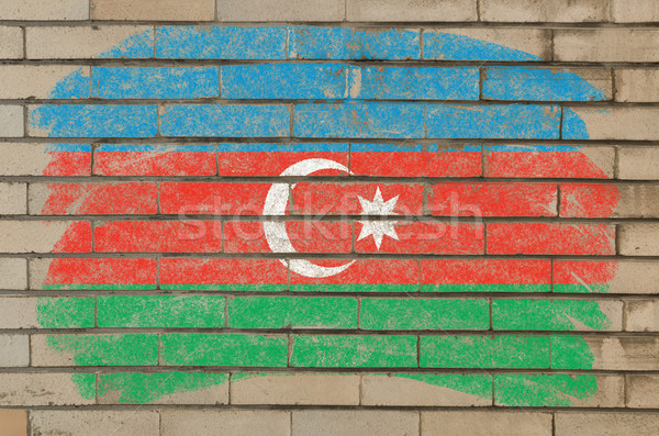 flag of azerbaijan on grunge brick wall painted with chalk   Stock photo © vepar5