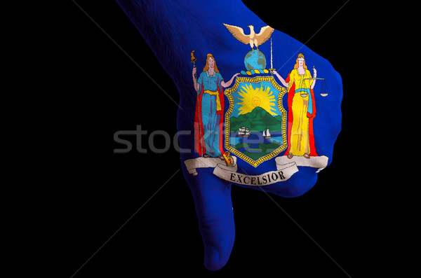 new york us state flag thumbs down gesture for failure made with Stock photo © vepar5