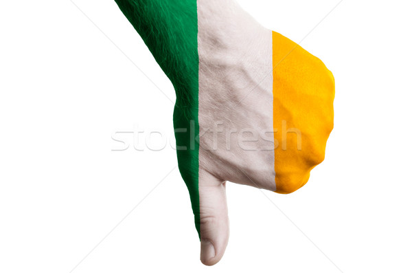ireland national flag thumb down gesture for failure made with h Stock photo © vepar5