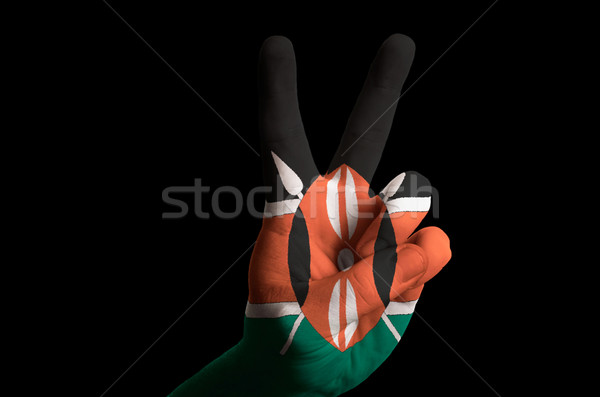 kenya national flag two finger up gesture for victory and winner Stock photo © vepar5