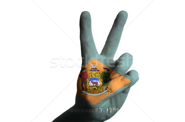 Stockfoto: Delaware · vlag · twee · vinger · omhoog · gebaar