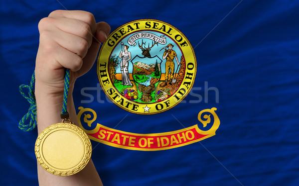 Gouden medaille sport vlag amerikaanse Idaho winnaar Stockfoto © vepar5