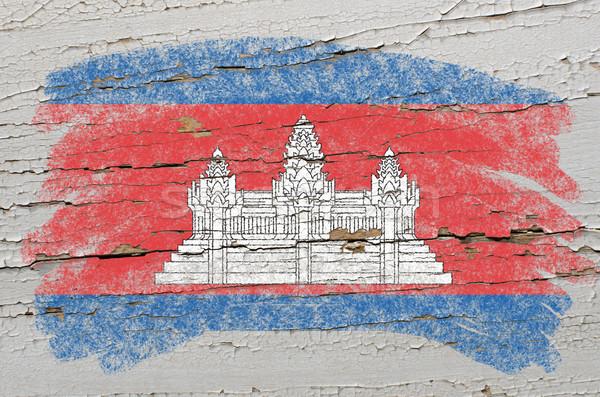 Zászló Kambodzsa grunge fából készült textúra festett Stock fotó © vepar5