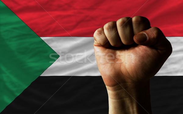 Vuist Soedan vlag macht compleet geheel Stockfoto © vepar5