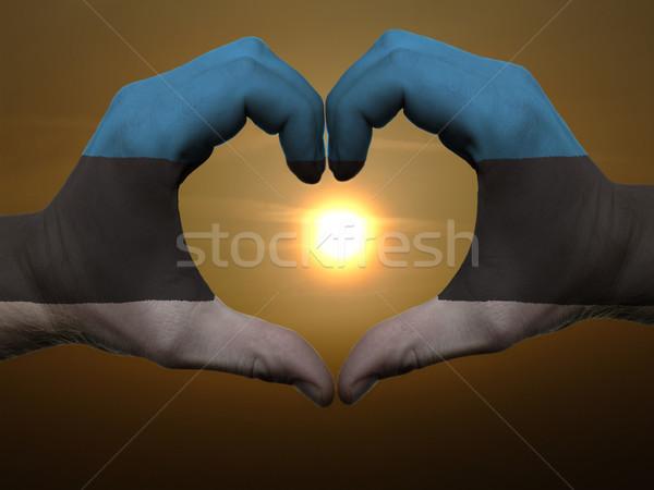 Hart liefde gebaar handen gekleurd Estland Stockfoto © vepar5