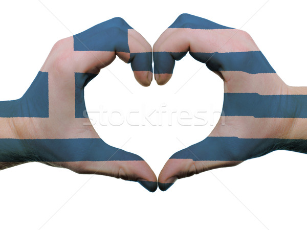 Heart and love gesture in greece flag colors by hands isolated o Stock photo © vepar5