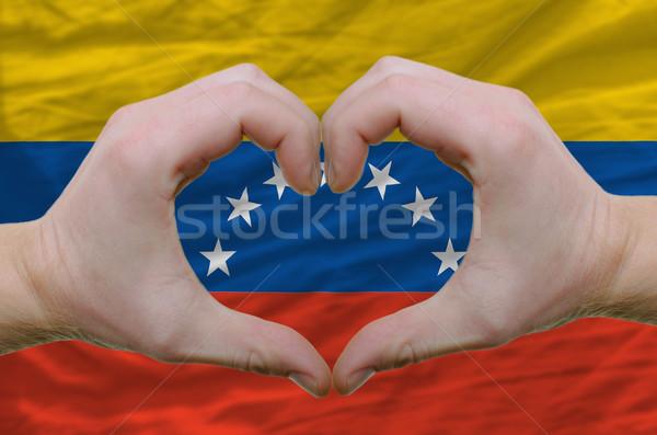 Szív szeretet kézmozdulat kezek zászló Venezuela Stock fotó © vepar5