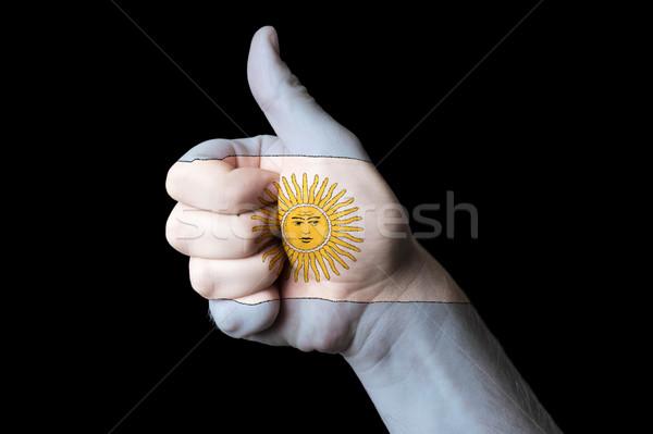 Argentina bandeira polegar para cima gesto excelência Foto stock © vepar5
