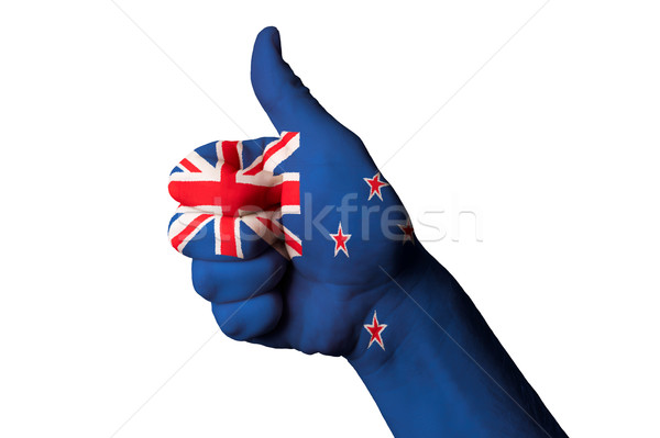 Nueva Zelandia bandera pulgar hasta gesto excelencia Foto stock © vepar5