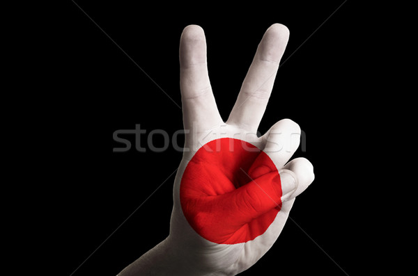 japan national flag two finger up gesture for victory and winner Stock photo © vepar5