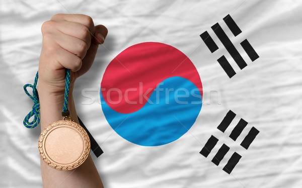 Bronze medal for sport and  national flag of south korea    Stock photo © vepar5