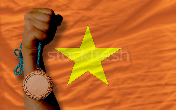 Bronze medal for sport and  national flag of vietnam    Stock photo © vepar5
