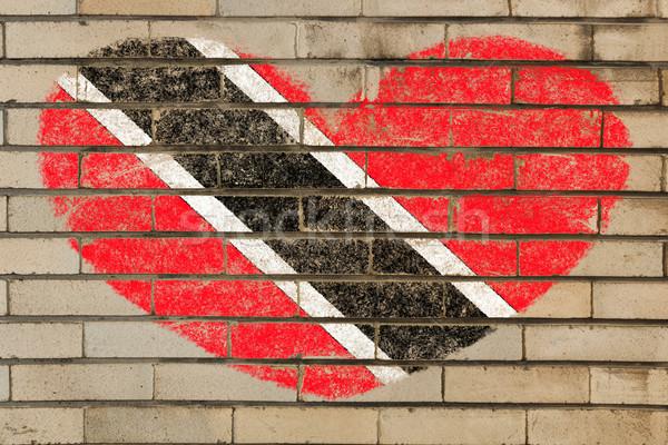 Forma de corazón bandera pared de ladrillo corazón colores Foto stock © vepar5