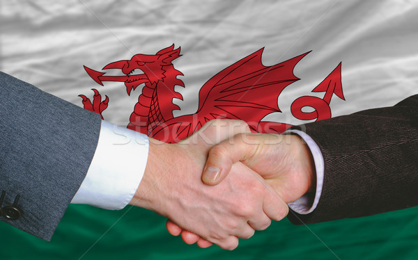 businessmen handshake after good deal in front of wales flag Stock photo © vepar5