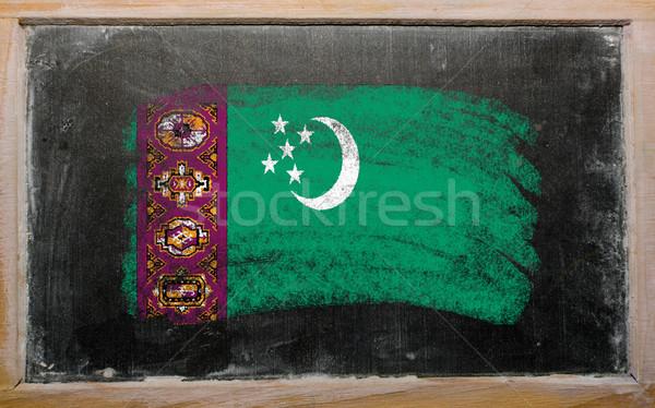 Zászló Türkmenisztán iskolatábla festett kréta szín Stock fotó © vepar5