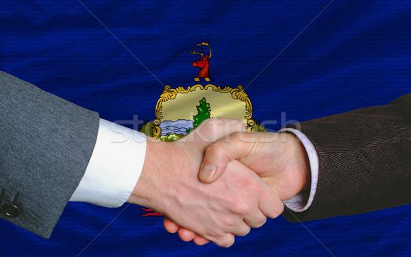 Americano bandeira Vermont dois empresários mãos Foto stock © vepar5