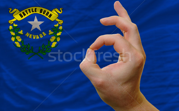 вызывать жест Невада флаг человека Сток-фото © vepar5