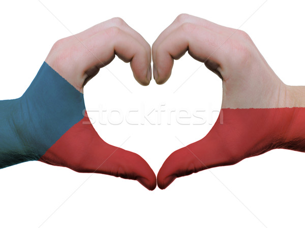 Heart and love gesture in czech flag colors by hands isolated on Stock photo © vepar5