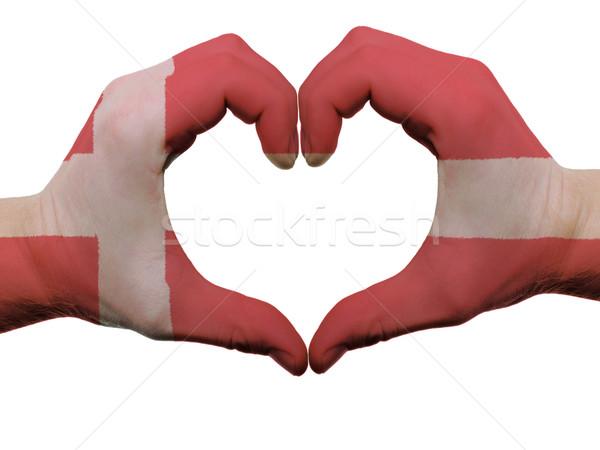 Corazón amor gesto Dinamarca bandera colores Foto stock © vepar5