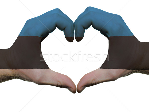 Heart and love gesture in estonia flag colors by hands isolated  Stock photo © vepar5