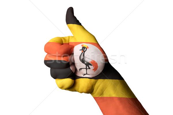 ウガンダ フラグ 親指 アップ ジェスチャー 卓越 ストックフォト © vepar5