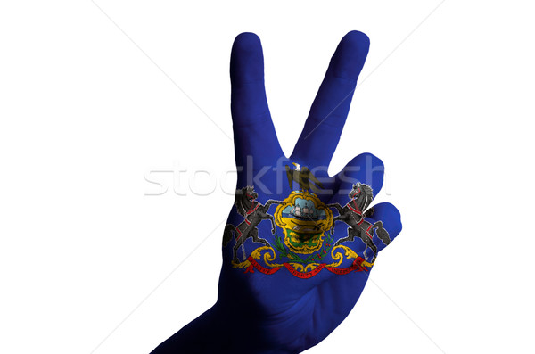 pennsylvania us state flag two finger up gesture for victory and Stock photo © vepar5
