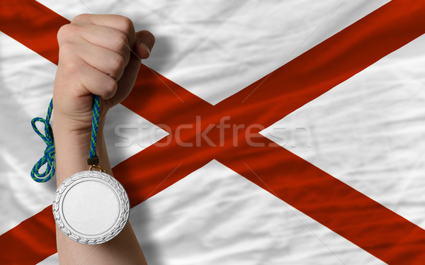 Silver medal for sport and  flag of american state of alabama    Stock photo © vepar5
