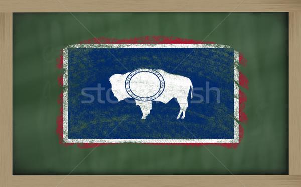 Vlag Wyoming Blackboard geschilderd krijt amerikaanse Stockfoto © vepar5