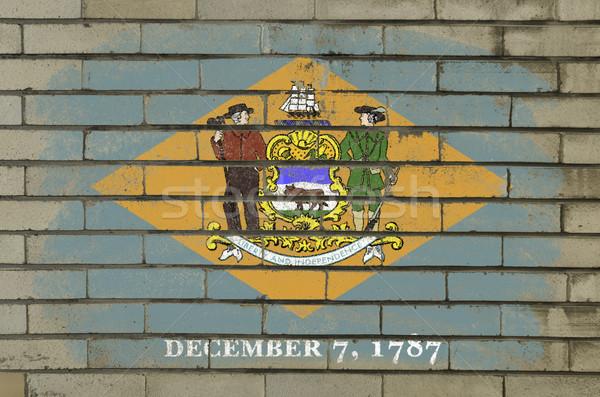 Grunge bayrak Delaware tuğla duvar boyalı amerikan Stok fotoğraf © vepar5