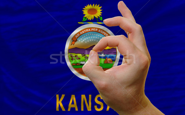 ok gesture in front of kansas us state flag Stock photo © vepar5