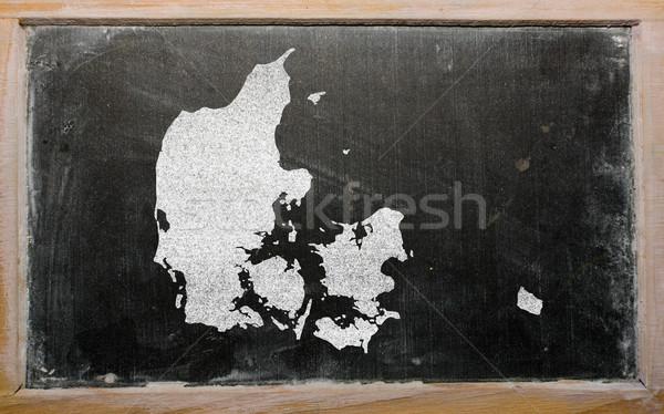 Skicc térkép Dánia iskolatábla rajz rajzolt Stock fotó © vepar5
