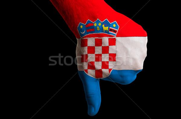 Хорватия флаг вниз жест провал Сток-фото © vepar5