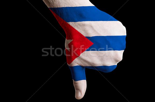 Cuba bandeira polegar para baixo gesto falha Foto stock © vepar5