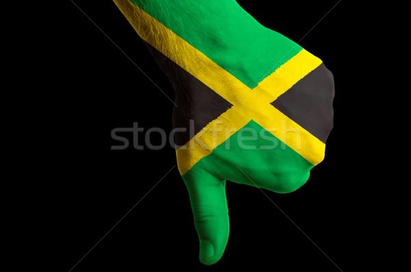 Ямайка флаг большой палец руки вниз жест провал Сток-фото © vepar5