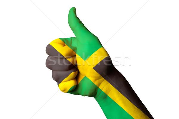 Foto stock: Jamaica · bandeira · polegar · para · cima · gesto · excelência