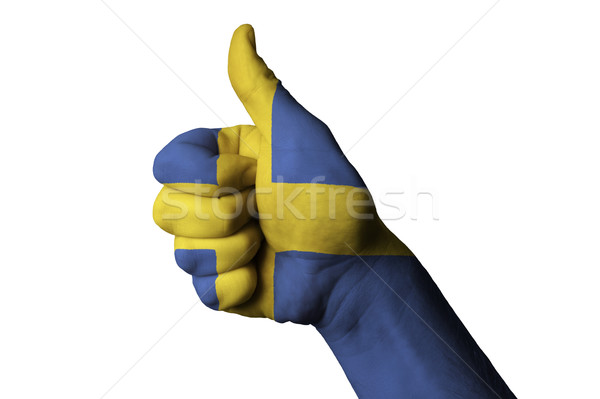 sweden national flag thumb up gesture for excellence and achieve Stock photo © vepar5