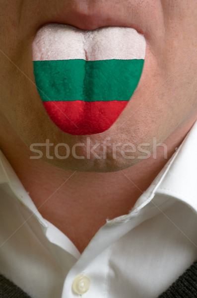 man tongue painted in bulgaria flag symbolizing to knowledge to  Stock photo © vepar5
